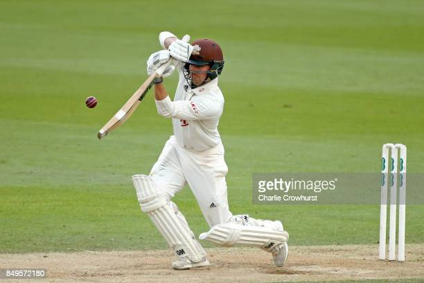 Surrey's Rory Burns hits out during day one of the Specsavers County Championship Division One match between Surrey and Somerset at The Kia Oval on...
