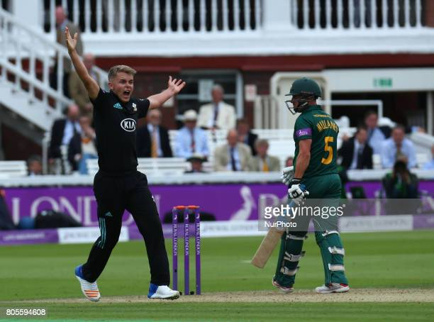 Surrey's Sam Curran celebrates LBW on Nottinghamshire's Steven Mullaney during the Royal London OneDay Final match between Nottinghamshire and Surrey...