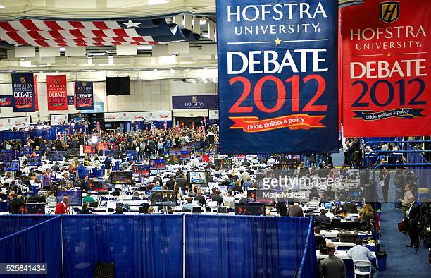 Surrogates and media descend upon the spin room following the second Presidential Debate between Barack Obama and Mitt Romney at Hofstra University...