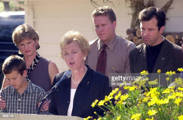 Surrounded by family members on the deck of her home Jean Carnahan widow of the late Missouri Governor Mel Carnahan announces October 30 2000 she...