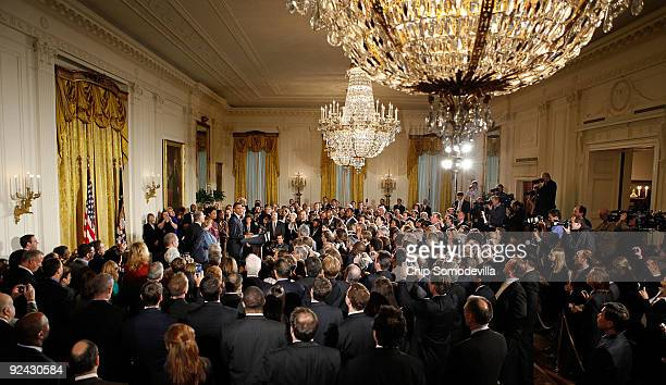 Surrounded by human rights supporters US President Barack Obama delivers remarks marking the enactment of the Matthew Shepard and James Byrd Jr Hate...