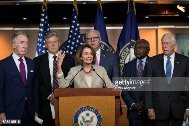 Surrounded by members of the House Democratic leadership House Minority Leader Nancy Pelosi speaks during a press conference regarding the Senate's...