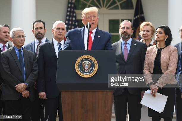Surrounded by members of the White House Coronavirus Task Force US President Donald Trump speaks at a press conference on COVID19 known as the...
