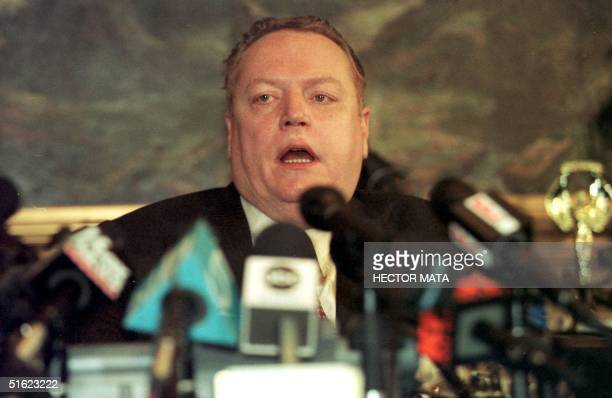 Surrounded by microphones at his office 18 December in Beverly Hills pornography publisher Larry Flynt announces that paramours and former CIA and...