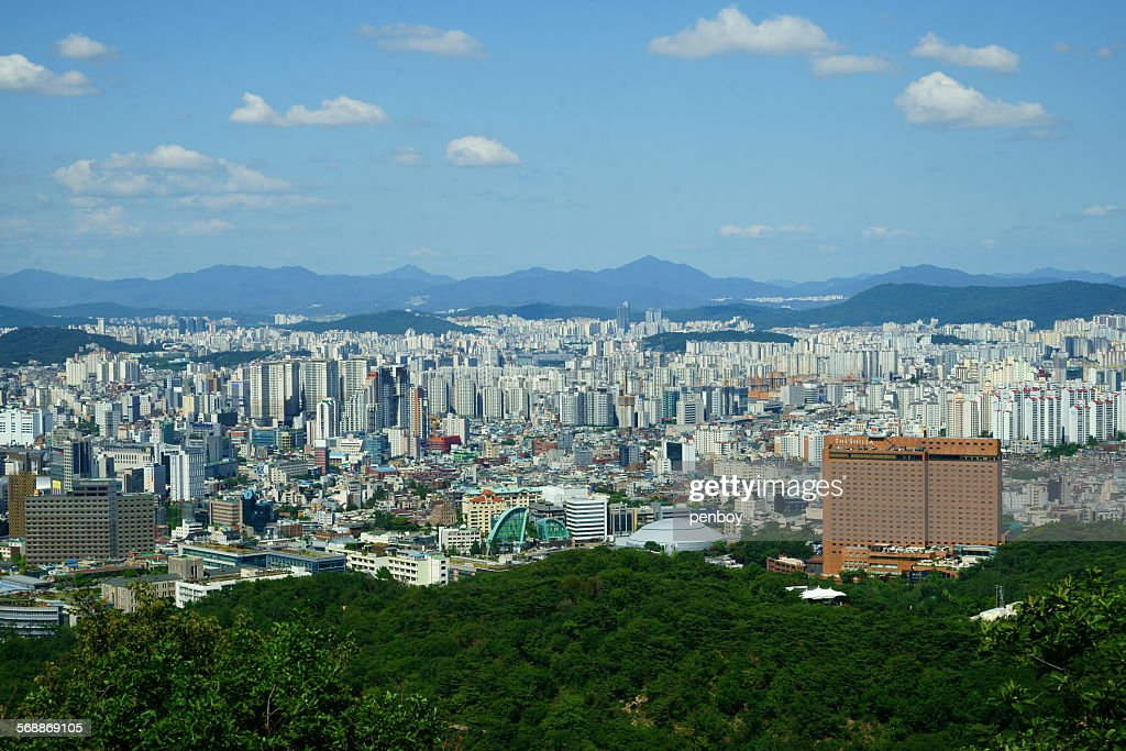 Surrounded by mountains, Seoul : Stock Photo