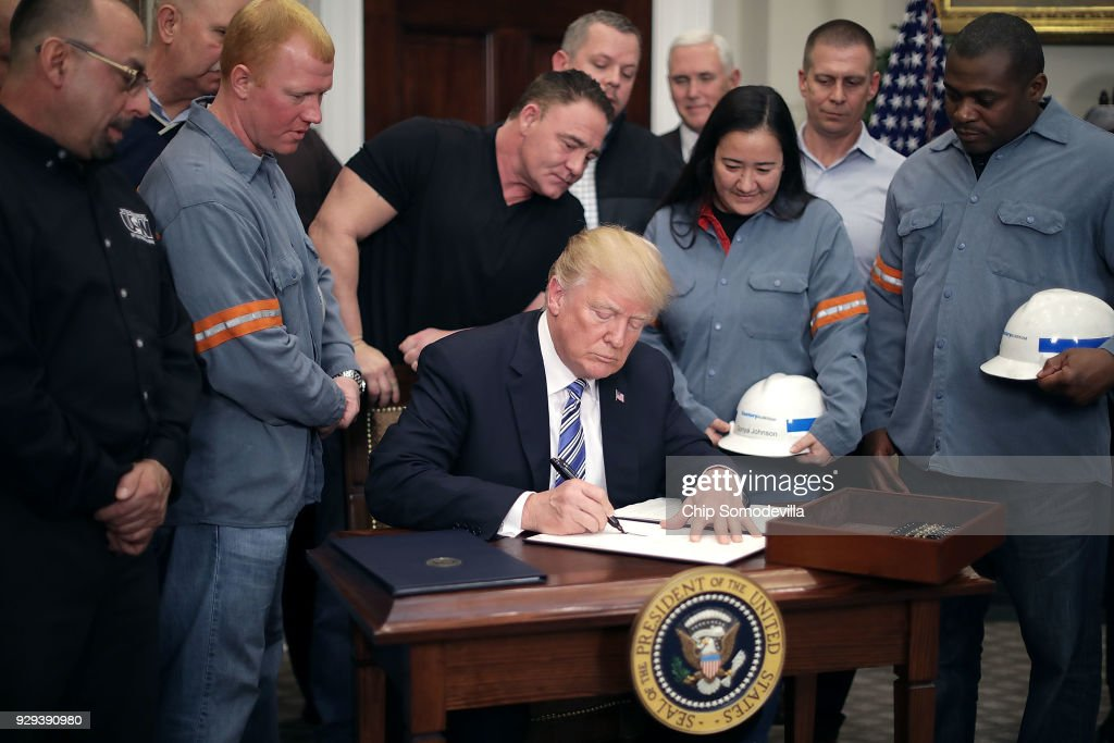 President Trump Signs Section 232 Proclamations On Steel And Aluminum Imports : News Photo