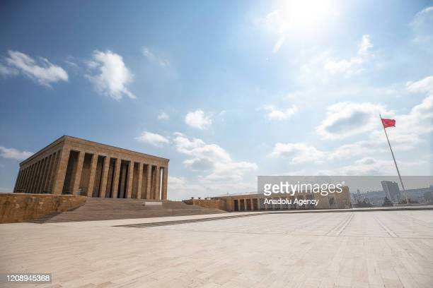 Surroundings of Anitkabir the mausoleum of founder of the Republic of Turkey Mustafa Kemal Ataturk is seen empty after authorities urging people to...