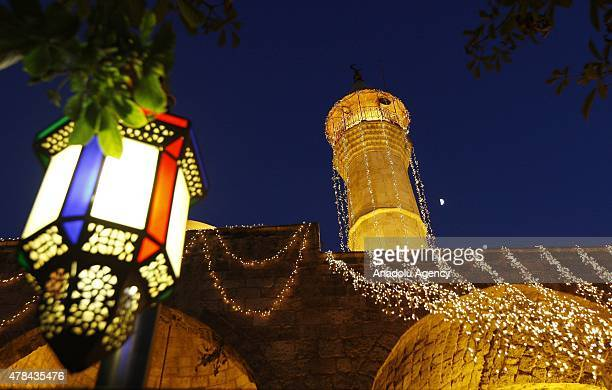 Surroundings of Mohammed AlAmin Mosque is decorated with lights for the Ramadan month in Beirut Lebanon on June 25 2015