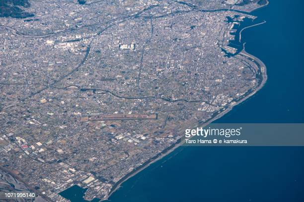 Suruga Bay, Fujieda and Yaizu cities in Shizuoka prefecture in Japan daytime aerial view from airplane