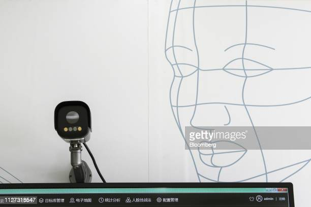 A surveillance camera is displayed at the Tiandy Technology Co headquarters in Tianjin China on Friday Feb 22 2019 Tiandy manufactures surveillance...