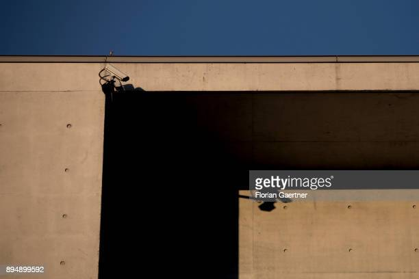A surveillance camera is pictured in evening light on December 18 2017 in Berlin Germany