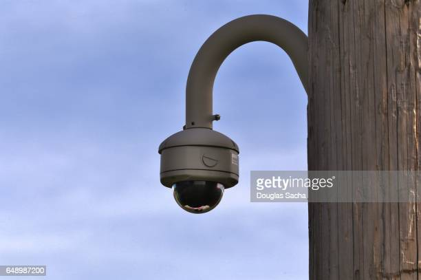 Surveillance camera mounted on a wooded power pole