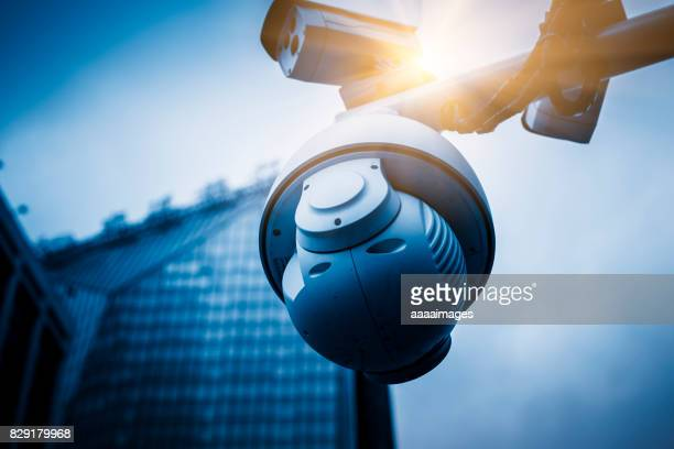 surveillance camera with modern buildings on background