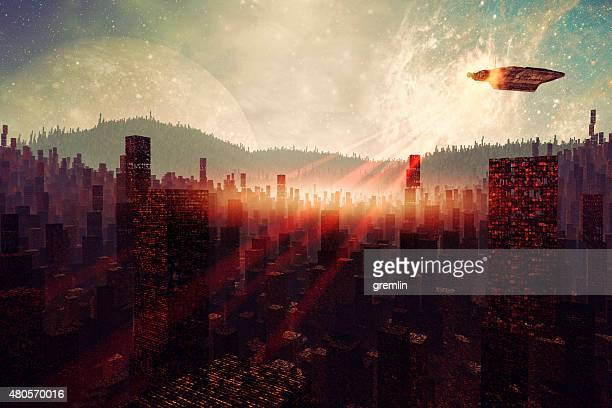 ufo surveillance over destroyed city - military invasion stock pictures, royalty-free photos & images