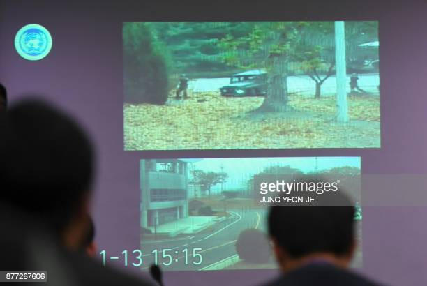 A surveillance TV footage containing the moment of defection of a North Korean Soldier is seen during a press briefing by the United Nations Command...