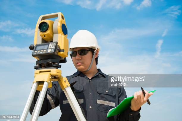 Survey equipment camera tool for Civil Engineer to surveying. Engineering concept.