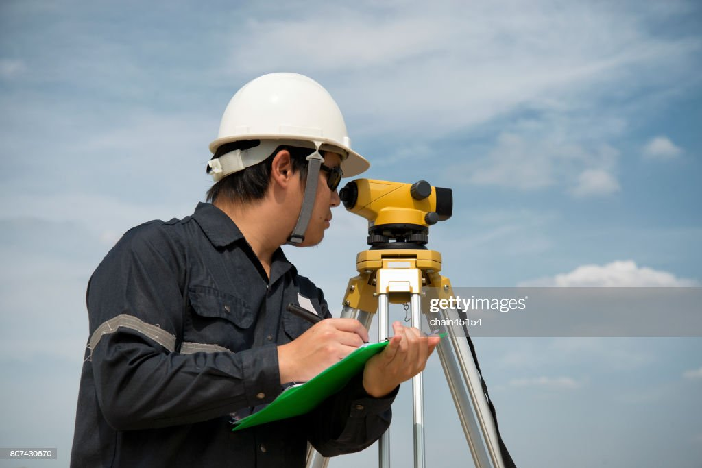 Survey Equipment Camera Tool For Civil Engineer To Surveying Engineering Concept Stock Photo
