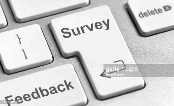 survey feedback keyboard - survey stock photos and pictures
