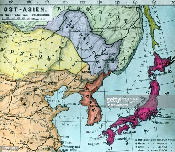 Survey map of the East Asian region with China Japan Manchuria Korea Russia and Mongolia