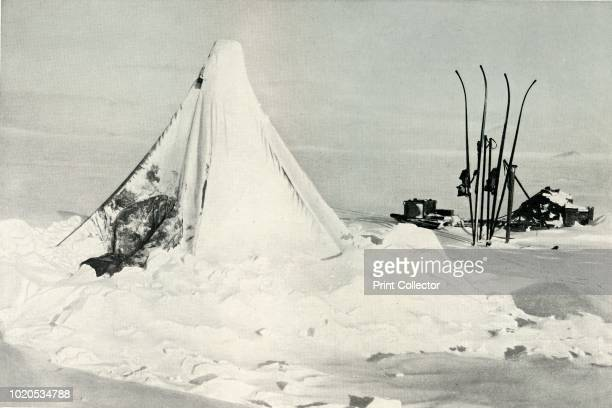 Surveying Party's Tent After A Blizzard' circa 1911 The final expedition of British Antarctic explorer Captain Robert Falcon Scott left London on 1...