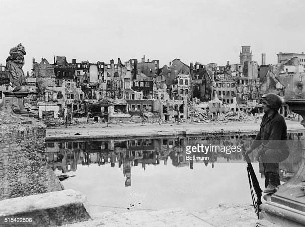 GI Surveys Bombedout Wurzburg 1945
