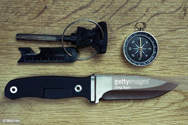 survival tools - flint tool stock photos and pictures
