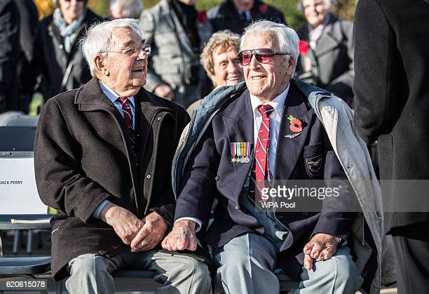 Surviving 'Guinea pig club' members Alan Morgan and Douglas Vince wait for Prince Philip Duke of Edinburgh President of the Guinea Pig Club to unveil...