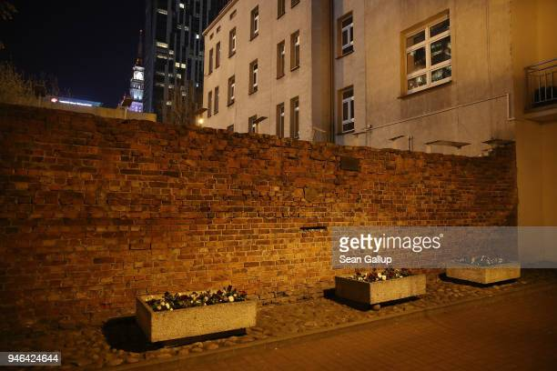 Surviving portion of the wall that once enclosed the former Warsaw Ghetto stands near Sienna Street on April 12, 2018 in Warsaw, Poland. Poland will...