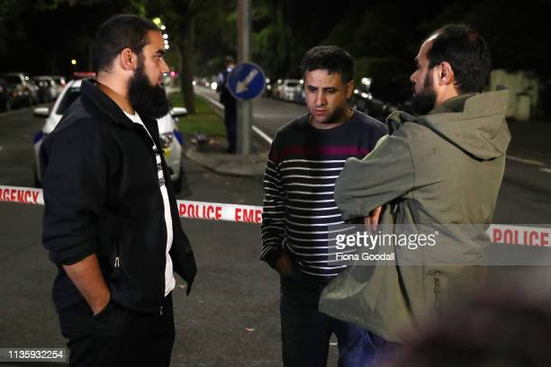 Survivor Ahmed AlMahmoud waits at the police cordon on Deans Rd near the Al Noor mosque on March 15 2019 in Christchurch New Zealand 40 people have...