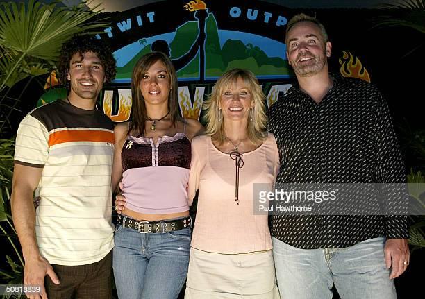 Survivor Allstars past million dollar winners Ethan Zohn Jenna MorascaTina Wesson and Richard Hatch attend the Survivor Allstars Finale on May 9 2004...
