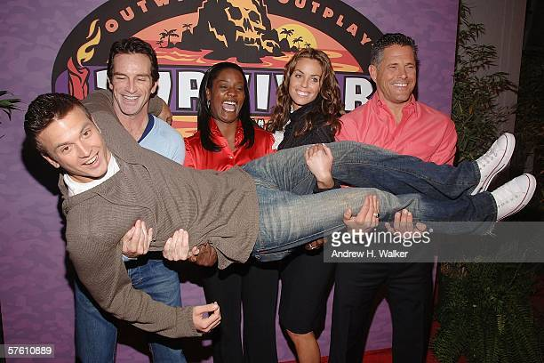 Survivor Castaway winner Aras Baskauskas is lifted by host Jeff Probst and finalists Cirie Fields, Danielle DiLorenzo and Terry Deitz at the CBS...
