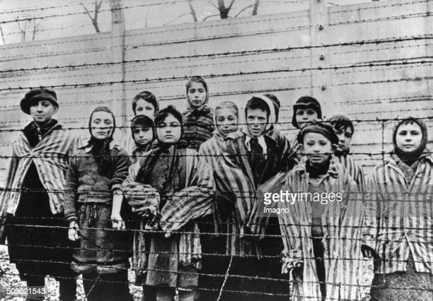 Survivor children in the concentration camp Auschwitz-Birkenau after the liberation. 1945. Poland. Photograph. February 1945. .