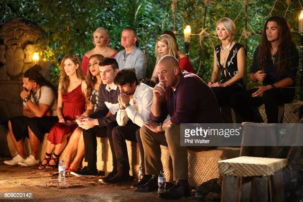 Survivor contestants watch the final tribal council during the Survivor NZ Live Final at Civic Theatre on July 5 2017 in Auckland New Zealand