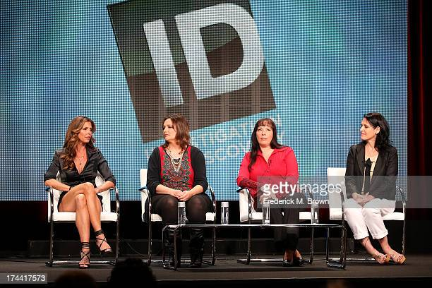 "Survivor/ Host Charisma Carpenter, survivors Teri Jendusa-Nicolai, Lisa McVey, and producer Pamela Deutsch speak onstage at the ""Surviving Evil With..."
