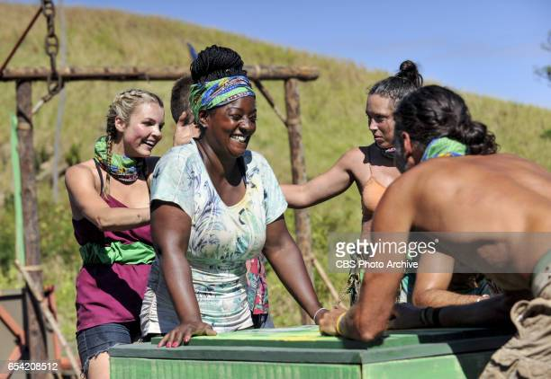 Survivor Jackpot Andrea Boehlke Cirie Fields Sarah Lacina and Troyzan Robertson on the third episode of SURVIVOR Game Changers airing Wednesday March...