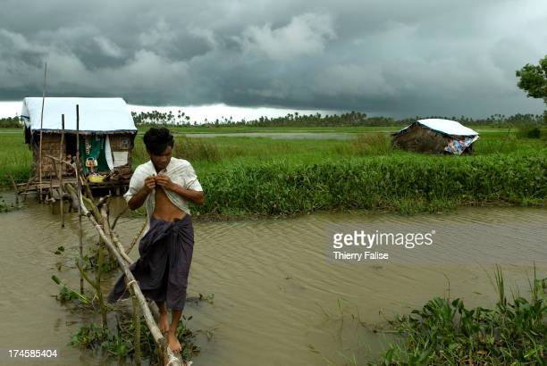A survivor of cylone Nargis crosses a tiny wooden bridge from his temporary house on the road from Pyapon to Bogale According to official figures the...