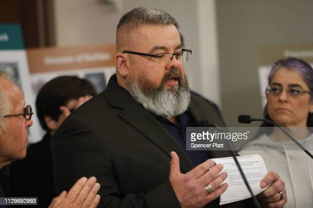 Survivor of sexual abuse by a priest Mark Lyman attends a news conference with lawyer Jeff Anderson of Jeff Anderson Associates on February 14 2019...