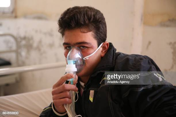 A survivor of the Assad regime's suspected chemical attack in Khan Shaykhun town of Idlib district receives treatment at an hospital in Idlib Syria...