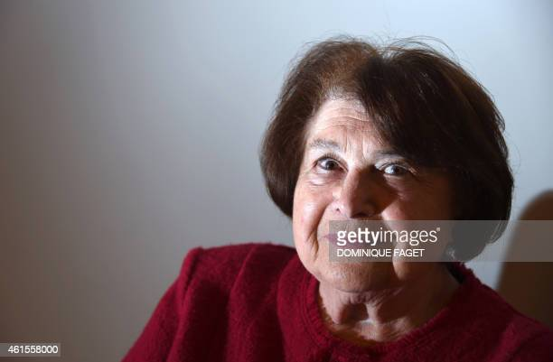 Survivor of the AuschwitzBirkenau Nazi concentration camp Ida Grispan poses in Paris on January 15 2015 before the presentation of the book Traces de...