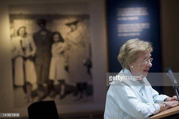 survivor of the holocaust and stepdaughter of Otto Frank the father of Anne Frank Eva SchlossGeiringer speaks at the opening of the new exhibition...