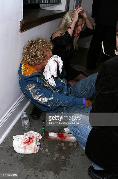 Survivor personality Johnny Fairplay awaiting paramedics backstage after being injured during horseplay with Danny Bonaduce onstage during the 2007...