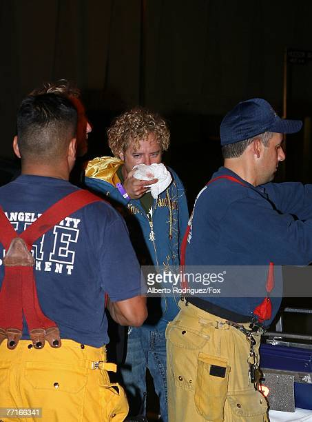 Survivor personality Johnny Fairplay with paramedics outside Boulevard 3 after being injured during horseplay onstage during the 2007 Fox Reality...