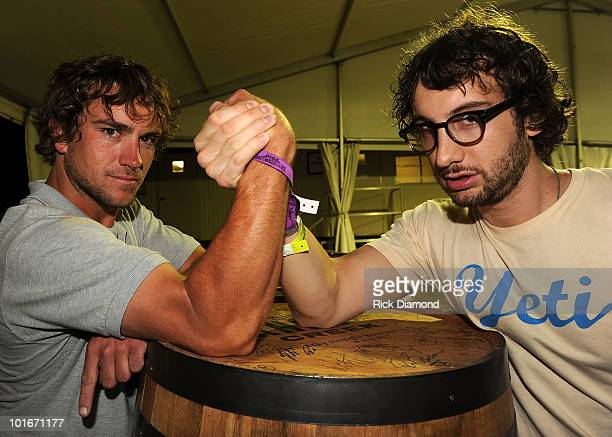 COVERAGE*** Survivor season Tocantins winner JT Thomas and runner up Stephen Fishbach backstage during the 2010 BamaJam Music Arts Festival at the...