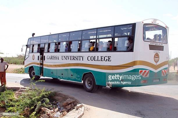 Survivor students from Garissa University College are carried by bus after Al-Shabaab terrorists shot their way into Garissa University College, at...