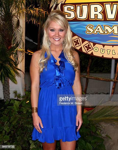 Survivor winner Natalie White attends the season finale of the television show Survivor Samoa Castaways at CBS Television City on December 20 2009 in...