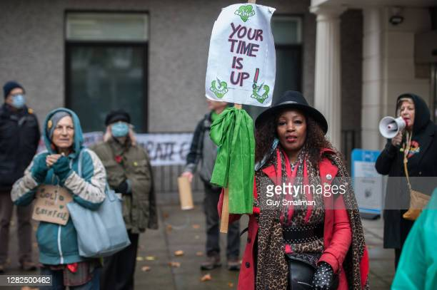 Survivors and bereaved relatives of the Grenfell Tower disaster, which killed 72 people and destroyed Grenfell Tower on 14 June 2017 protest outside...