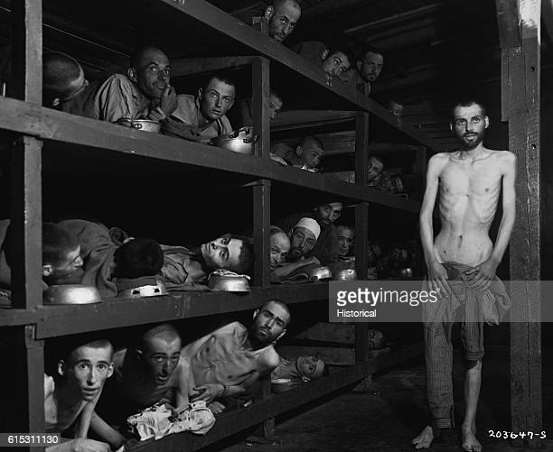 Survivors at Buchenwald Concentration Camp remain in their barracks after liberation by Allies on April 16 1945 Elie Wiesel the Nobel Prize winning...