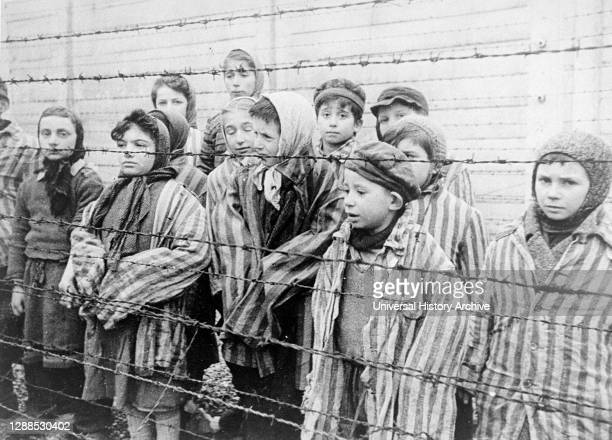 Survivors at the Auschwitz death camp, liberated by the Red Army in January 1945.