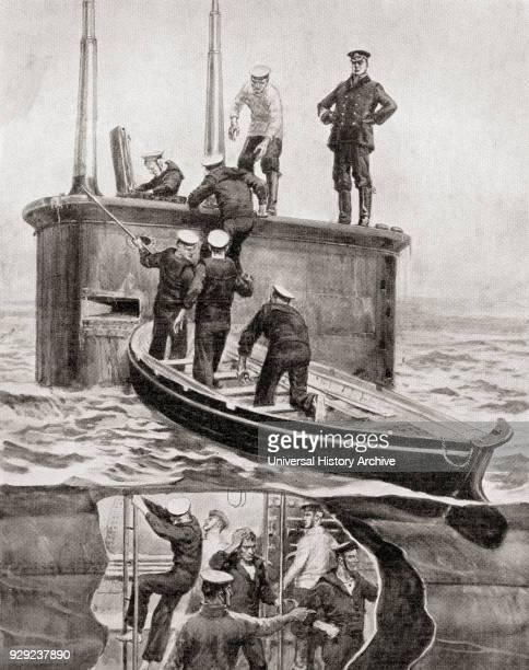 Survivors from the German Destroyer V184 are rescued by the British Submarine E4 after the Battle of Heligoland Bight 28 August 1914 in the North Sea...