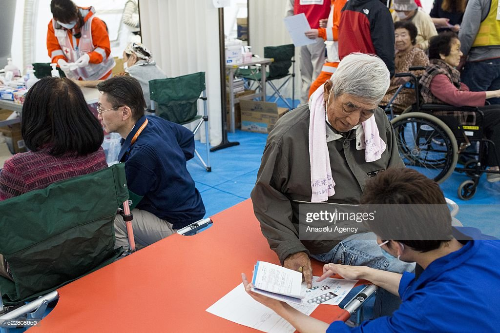 Survivors go through medical examinations in Kumamoto, Japan on April 21, 2016 . To date 45 people are confirmed dead and around 11,000 people have evacuated after an 6.5 earthquake on Thursday night and a stronger 7.3 quake on Saturday morning struck the Kyushu Island in Western Japan.